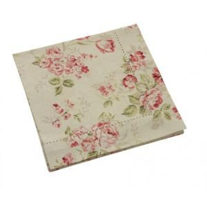 Set of 4 Pastoral Hemstitch Floral Napkin