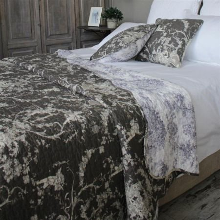 Charcoal Toile de Jouy French Country Bedding Cover