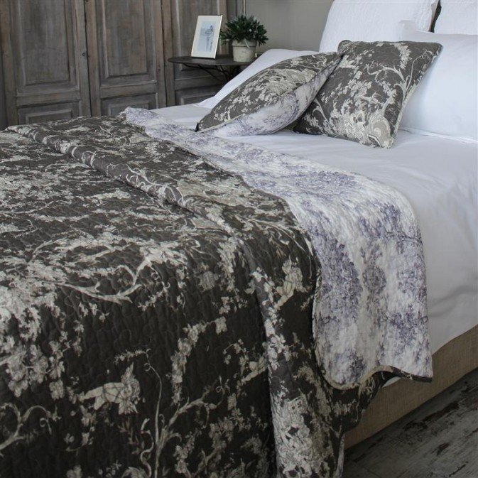 Charcoal Toile de Jouy Bed Cover