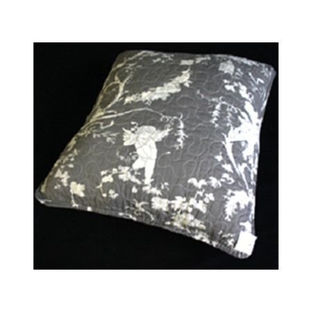 Dark Grey Toile de jouy Quilted Cushion