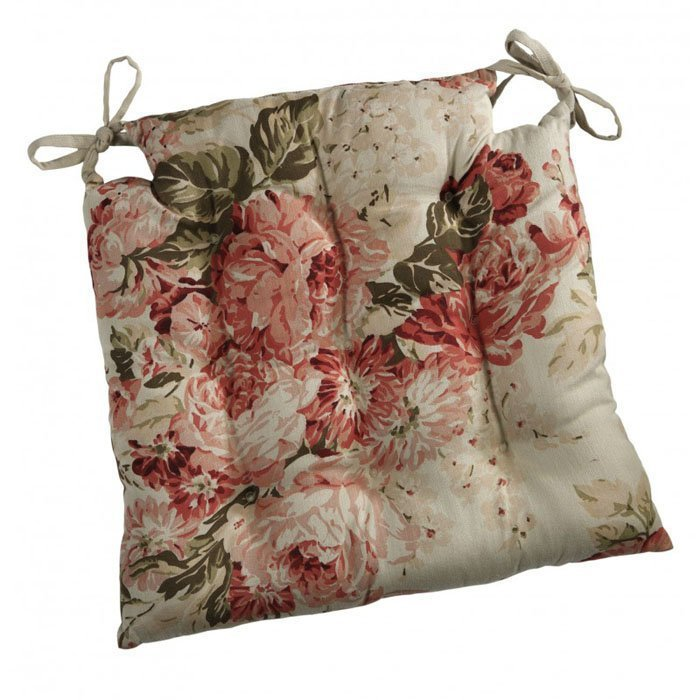 Bagatelle Square floral reversible seat pad with ties