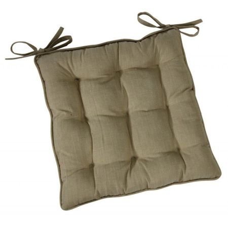 Linen colour square chair pad with ties