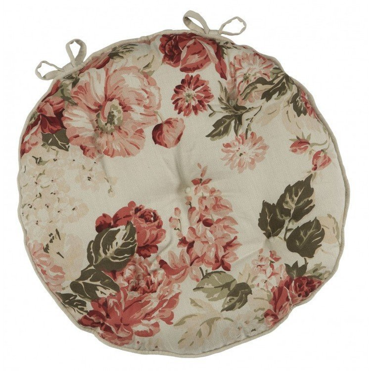 Bagatelle Round Floral Chair Pad with Ties