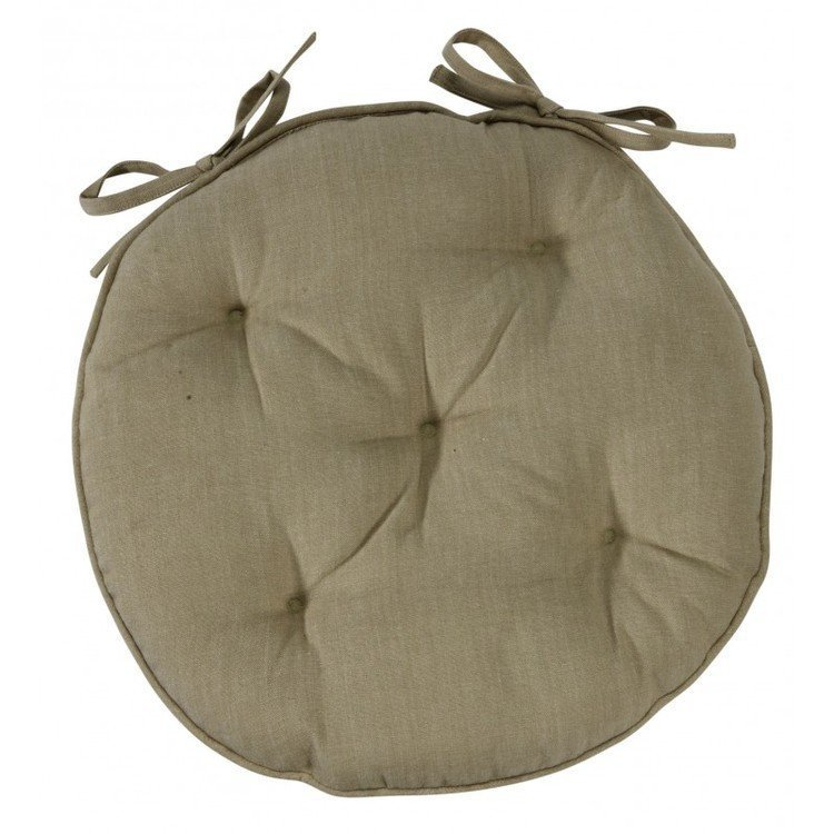 Linen colour round chair pad with ties