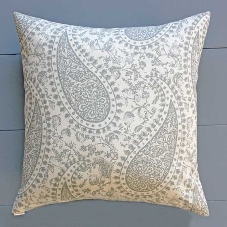 Grey paisley print cushion