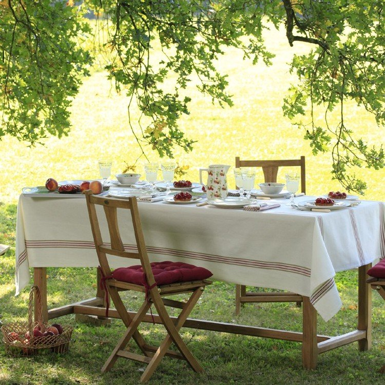 Metis stripe cream rectangular tablecloth