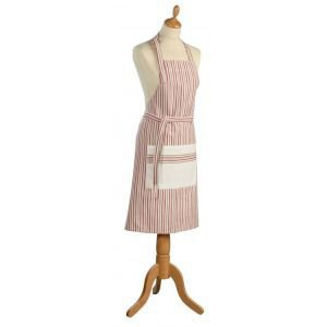 Metis Red, beige and cream stripe apron