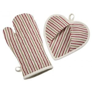Metis Striped Oven Glove and Heart Pot Grab