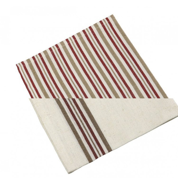 Metis Set of 2 Beige, Cream and Red French Striped Linen Napkins
