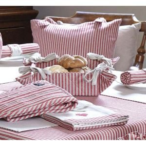 Ticking Striped material bread basket with ties