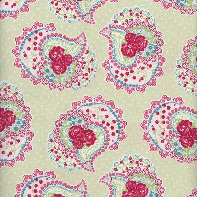 Paisley Pistachio Wipe Clean Oilcloth Tablecloth
