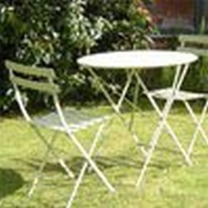 Round Bistro Table And 2 Chairs Metal Garden Furniture Set