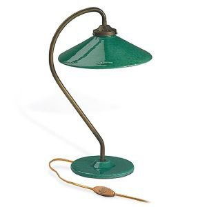 Brass and Ceramic French Table Lamp - Eau de Nil