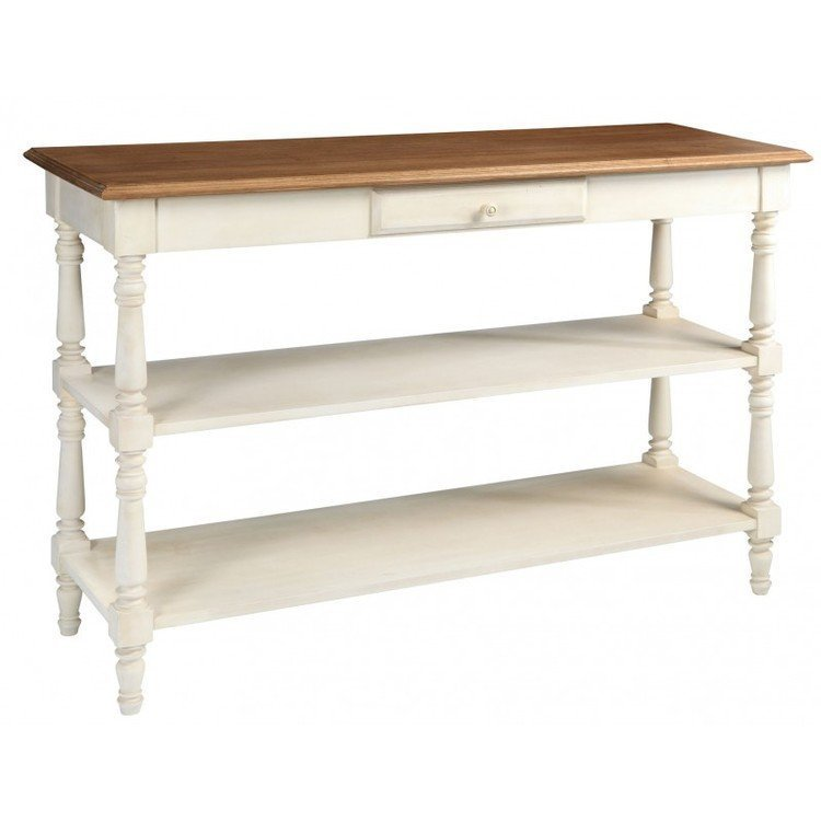 Comptoir de famille painted console with wooden top - Table comptoir de famille ...