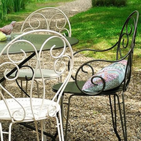 Fermob Opera Table & 2 Montmartre Armchairs - Metal Garden Furniture Set