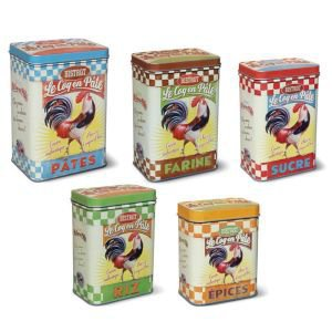 Set Of 5 Cockeral Storage Tins