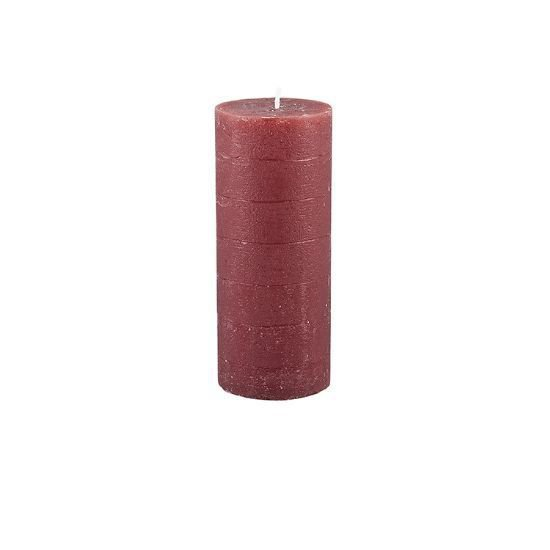 17cm Rustic Bordeaux Red Pillar Candle