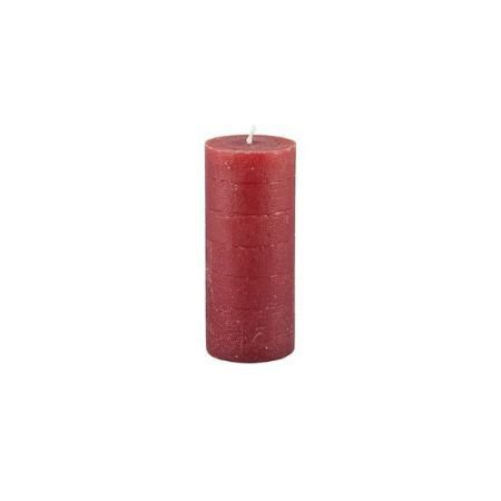 14cm Rustic Pillar Candle - Bordeaux Red