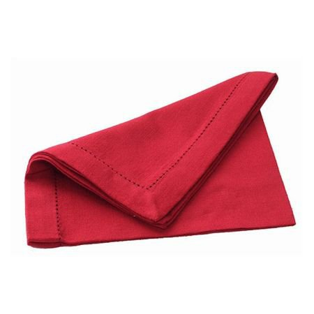 Set Of 4 Red Hemstitch Table Napkins