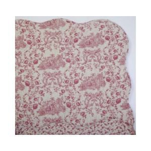 Hand Quilted Reversible Toile de Jouy Bedcover KS- Red and linen