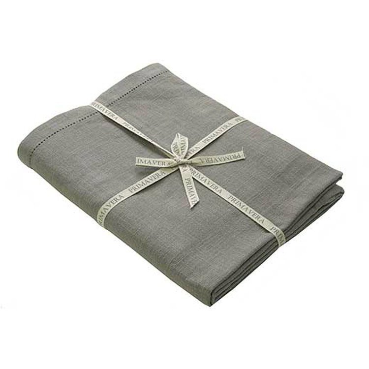 Pigeon Grey Rectangular Hemstitch French Linen Tablecloth 130 x 230cm
