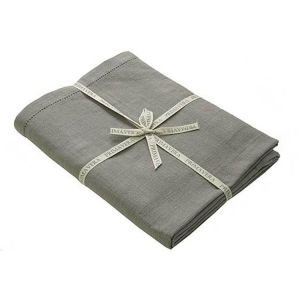 Pigeon Taupe Rectangular Hemstitch tablecloth 130 x 280