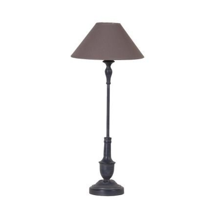 Tall Grey metal table lamp grey shade