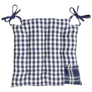 Reversible Blue and white gingham seat pad square