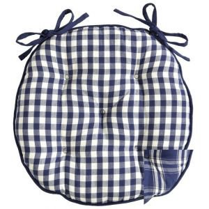Reversible Blue and white gingham seat pad round