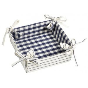 Reversible French bread basket with ties - Indigo