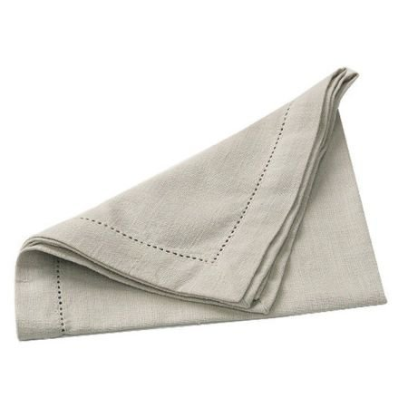Set of 4 Stone Cotton Hemstitch Table Napkins