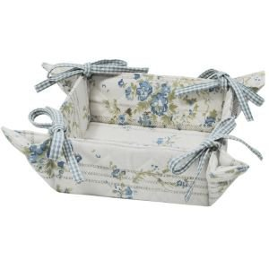 Floral blue bread basket with ties