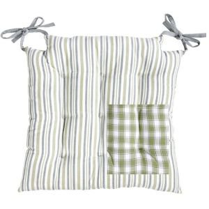 Reversible Green Check & Stripe Square Seat Pad