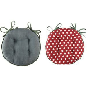 Round reversible chair pad with ties  - dotty red and teal