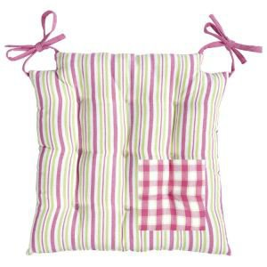Sorbet Pink Check Chair Pad - Square