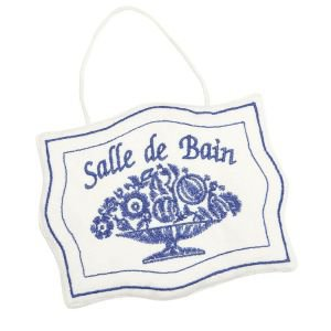 Hanging Blue and White Sign Salle de Bain