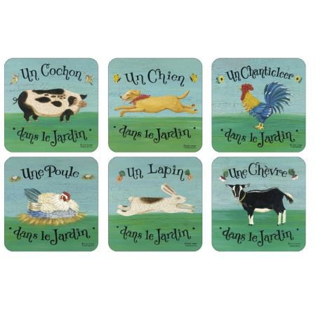 Set of 6 French Farmyard Coasters