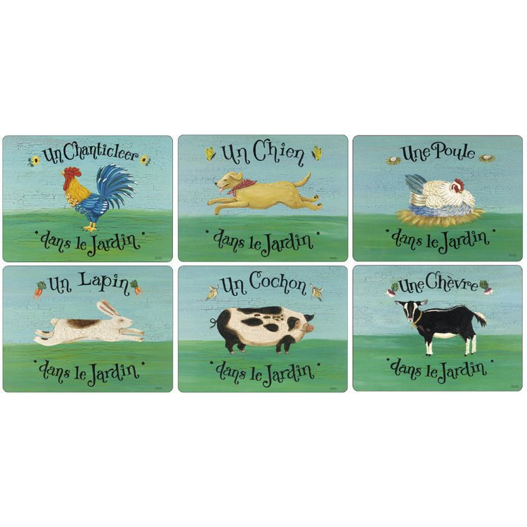 Set of 6 French Farmyard Placemats