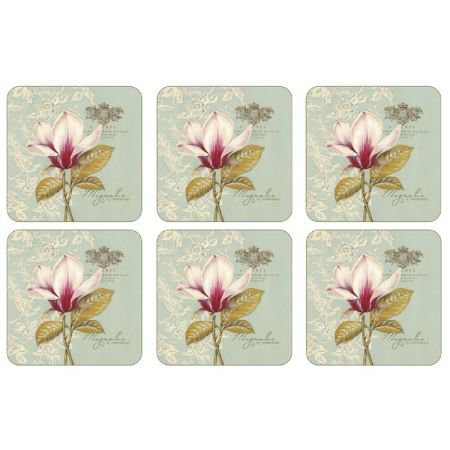 Set of 6 Duck Egg Floral Coasters