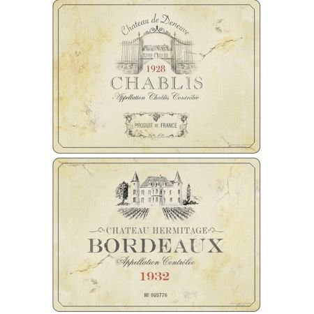 Set of 6 French Wine Label Placemats