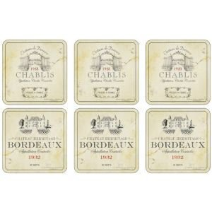 Set of 6 French Wine Label Coasters