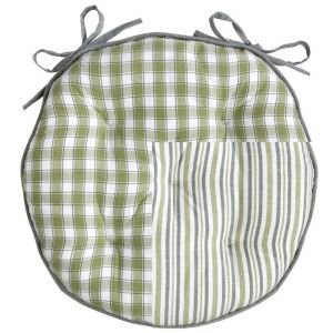 Reversible Green Check & Stripe Round Seat Pad