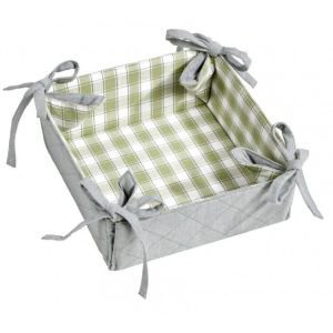 Reversible Green Check Bread Basket