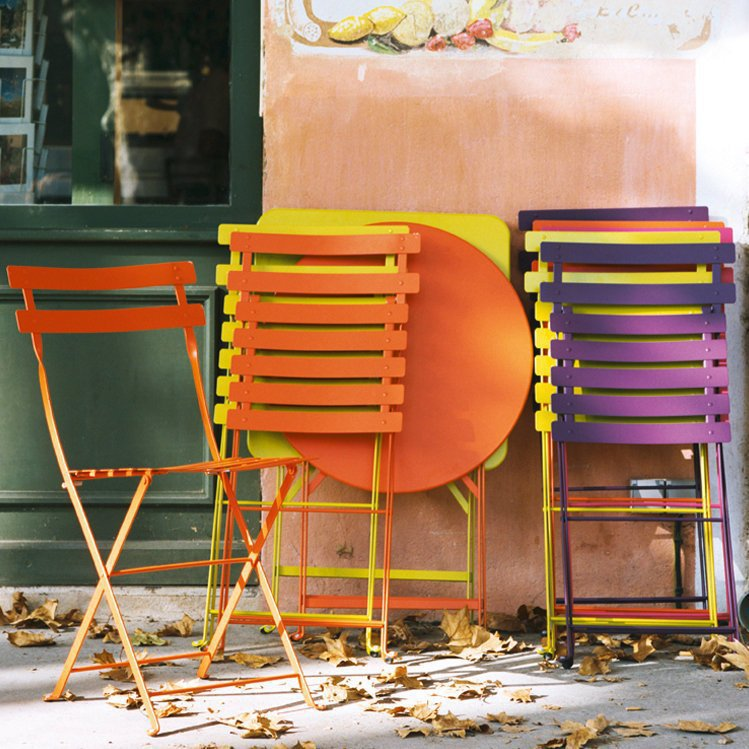 Pair of French Fermob Metal Bistro Chairs