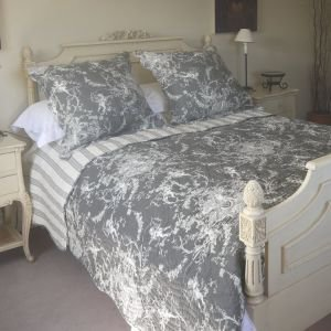 Hand Quilted Charcoal and Ivory 240 x 260 Toile de Jouy Bed Cover