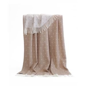 Beige Spots Wool French Bed Throw