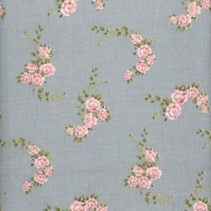 Blossom Rose Dusty Blue Vintage Oilcloth