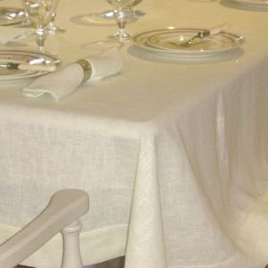 Rectangular Ivory Linen Tablecloth 142 x 220cm