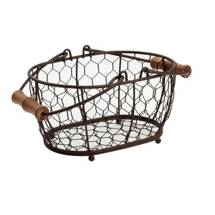 Provence Brown Oval Chicken Wire Basket - Small