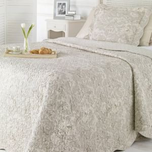 King Size Light Grey Toile de Jouy Quilted Bed Cover